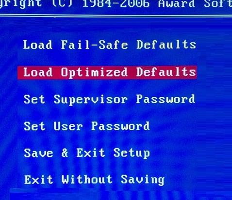 Пункт load Optimised Defaults