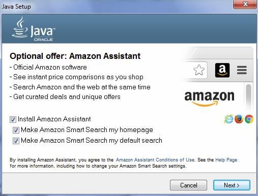 Экран установки Java