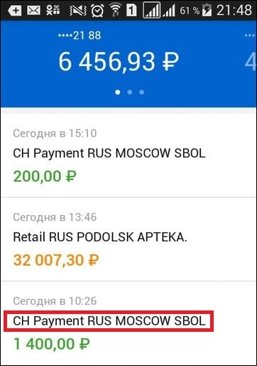 Приход платежа с описанием CH Payment RUS MOSCOW SBOL на карту