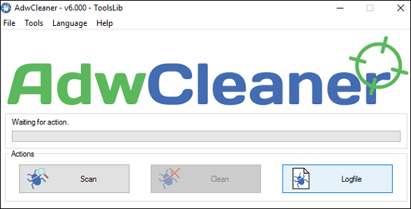 Окно AdwCleaner