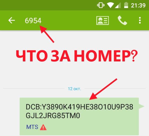 Скриншот сообщения от номера 6954