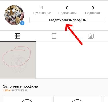 Кнопка редактировать профиль