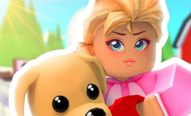 Персонаж с щенком изображены крупным планом