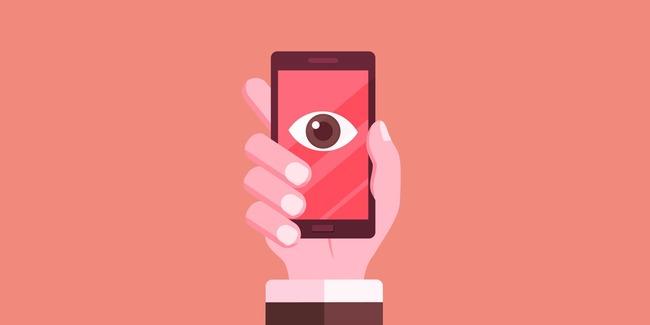 Нарисованная рука держит мобильник