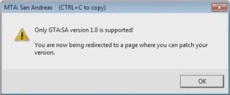 Сообщение о поддержке версии GTA 1.0
